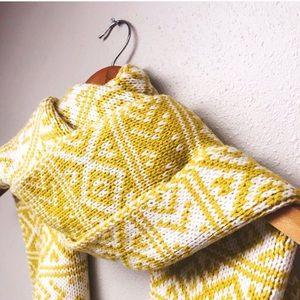 Yellow & White Jacquard Knit Scarf